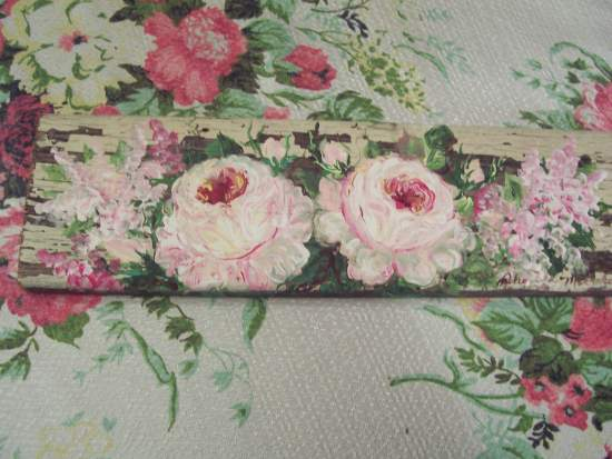 (Creamy Dreamy) Handpainted  roses sign shabby wooden art