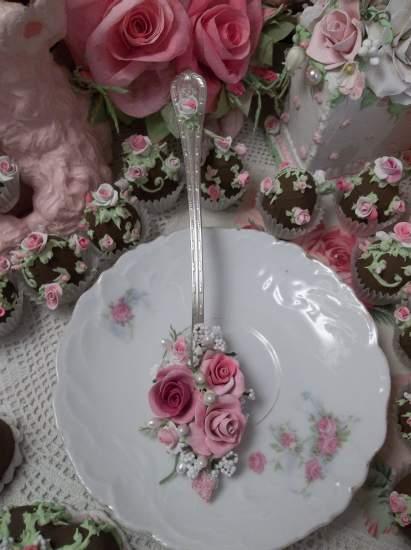 (Monogram S Spoon) Vintage Decorated Sundae Spoon