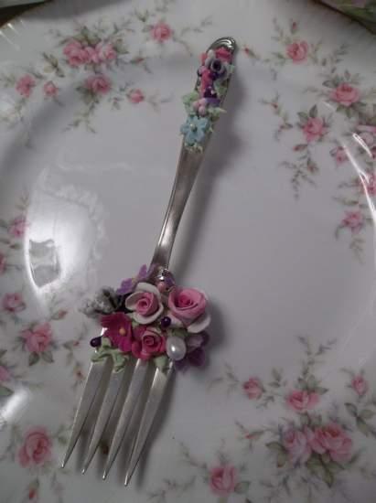 (Maceo) Vintage Fork, Bite Of Fake Cake