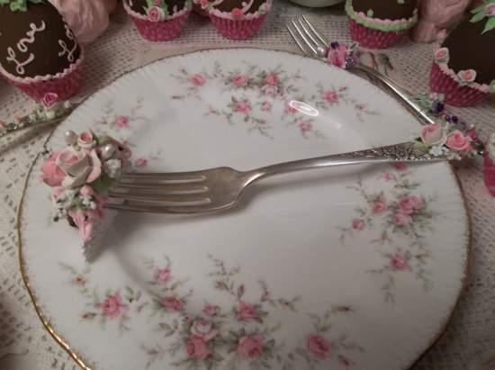(Vintage Vivian) Decorated Vintage Fork, Bite Of Fake Cake