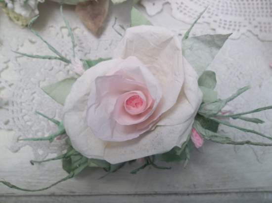 (Louise) Handmade Paper Rose Clip
