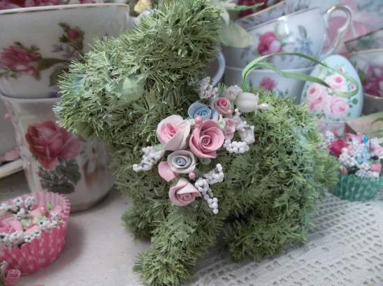 (Spring Time Bunnie) Easter Ornament Woodland Decor