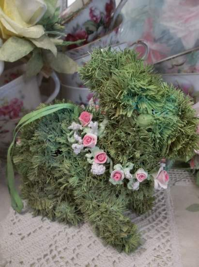 (Wreath Of Roses Bunny) Easter Ornament Woodland Decor