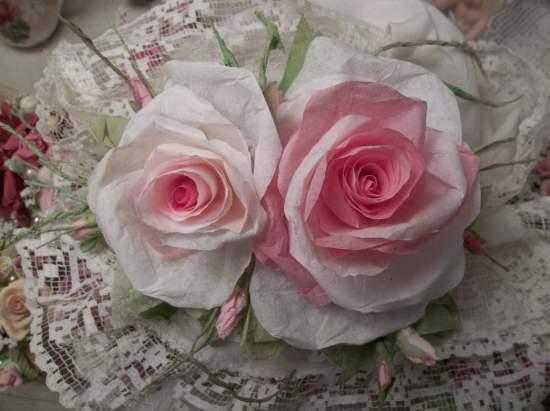 (Large Lareesa) Handmade Paper Rose Clip