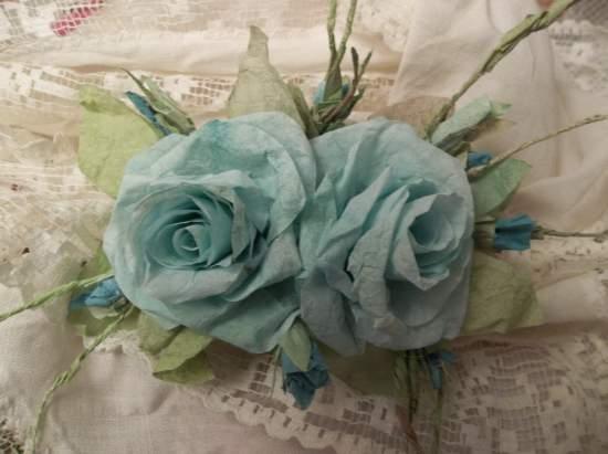(Aqua Marina) Handmade Paper Rose Clip