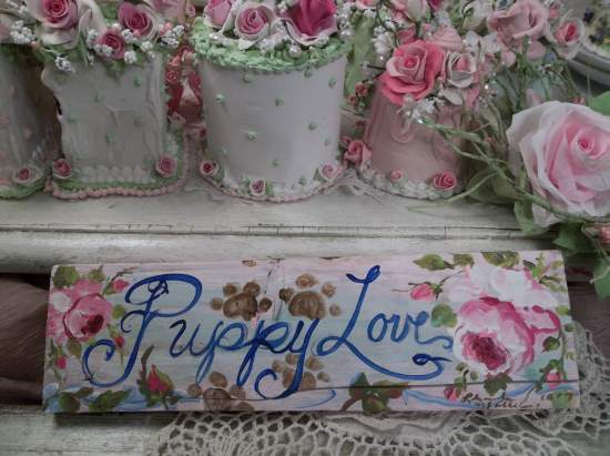 (Puppy Love) Handpainted Sign