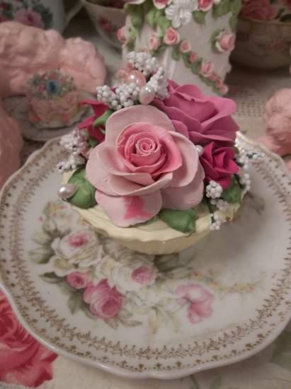 (Lemon Berry Rose) Fake Cupcake