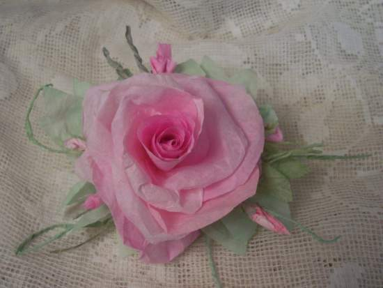 (Andrinna Rose) Handmade Paper Rose Clip