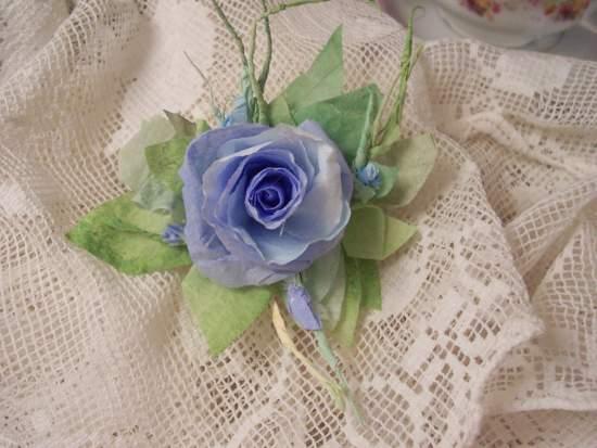 (Blue Belle) Handmade Paper Rose Clip