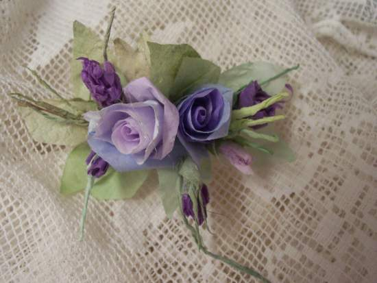(Lavender Blue Dilly Dilly) Handmade Paper Rose Clip