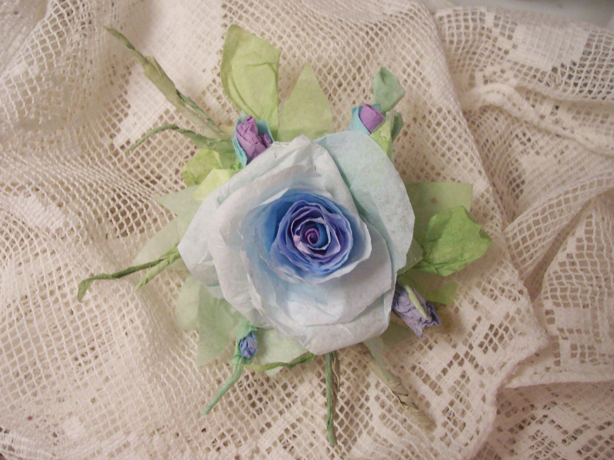 (Violet and Blue Stars) Handmade Paper Rose Clip