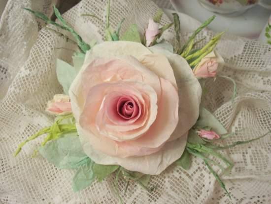 (Samantha) Handmade Paper Rose Clip