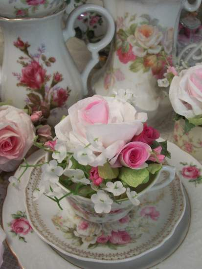 (Barbara Teacup insert) Paper Rose Display Victorian decor