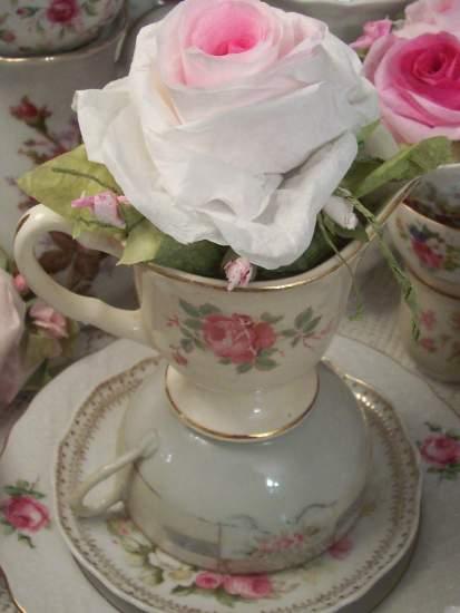(Lori) Teacup insert Paper Rose Display Victorian decor