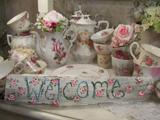 (Welcome Rose Buds) Handpainted Sign