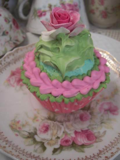 (Tower Rose)Life Size  Cupcake Fake Food Cottage Decor