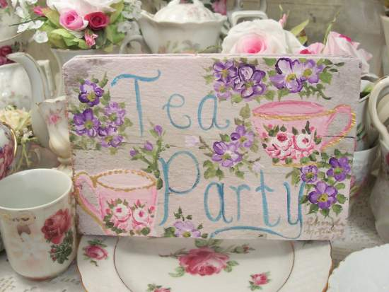 (Tea Party For Two)  HANDPAINTED ROSES SIGN