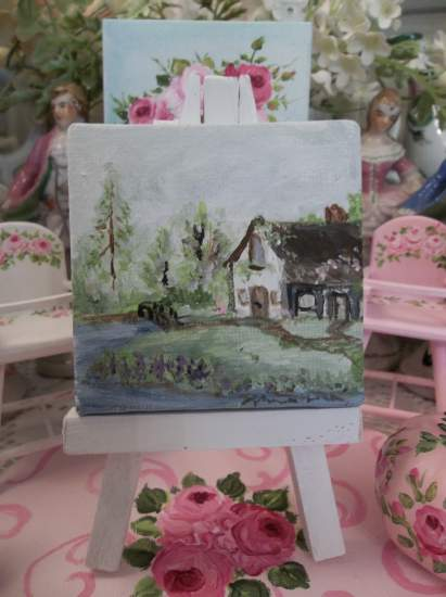 (Old cottage original dollhouse painting)