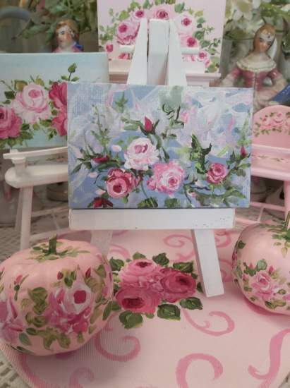 (Dollhouse size rose painting) Dollhouse Art