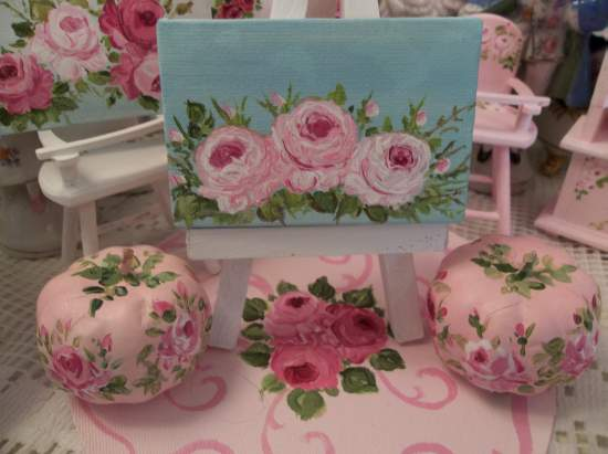 (Roses and sky original dollhouse painting) miniature canvas painting