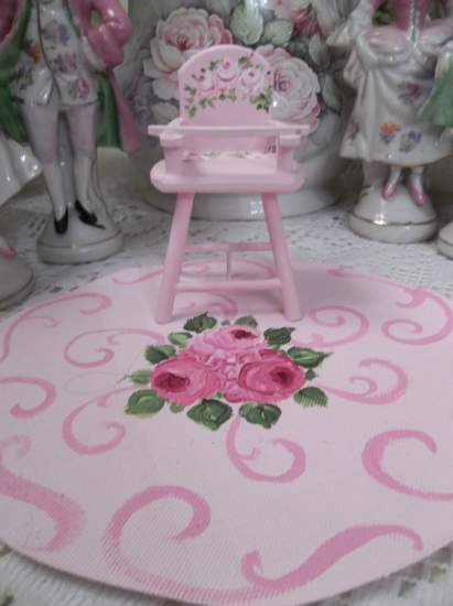 (Pink Doll House Dollhouse High Chair) Dollhouse Furniture