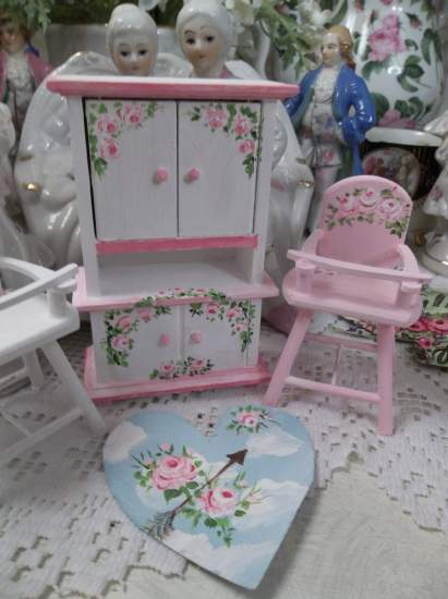 (Heart in The Clouds) Floor Cloth Dollhouse Furniture