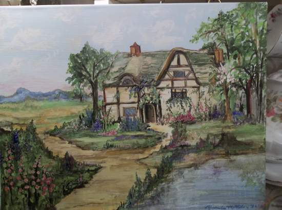 (Stillwaters Cottage) Original acrylic painting by Rhonda Motteberg on stretched Canvas