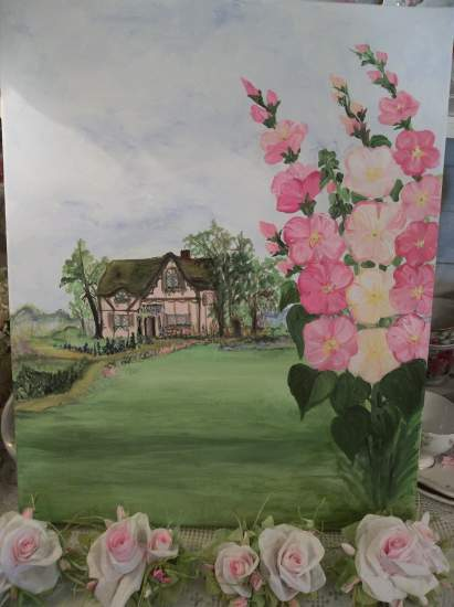 (Pink Stucco Cottage at Hollyhock Field) Original art hand painted by Rhonda Motteberg