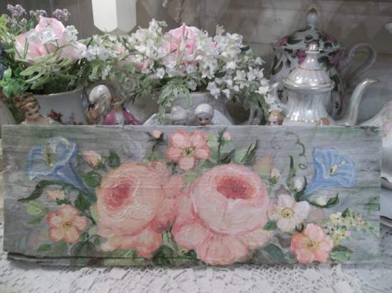 (Peach Roses and morning glory)  HANDPAINTED ROSES SIGN