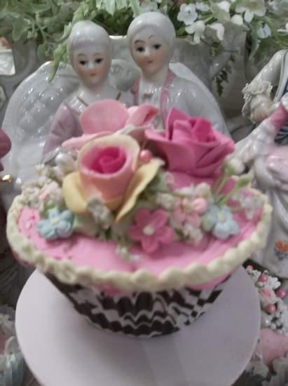 (Zebra Sally Rose) Life Size  Cupcake Fake Food Cottage Decor
