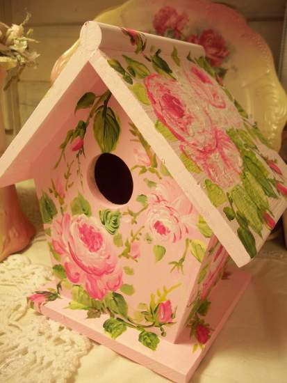 (Sincerely Rose) Handpainted Bird House