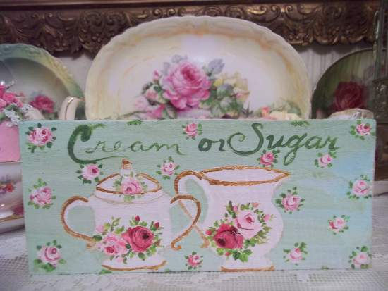 (Cream or sugar) HANDPAINTED ROSES SIGN