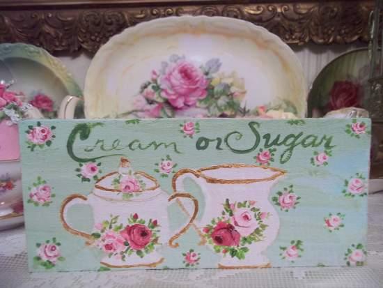 (Cream or sugar) HANDPAINTED ROSES SIGN