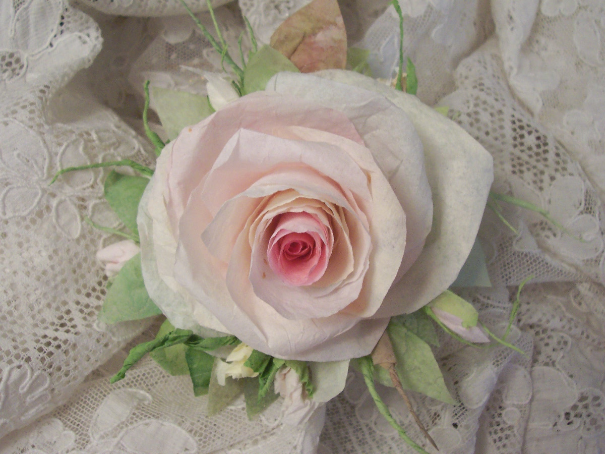 (vintage Lacy) Handmade Paper Rose Clip