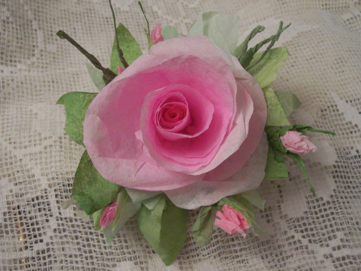 (Lana) Handmade Paper Rose Clip
