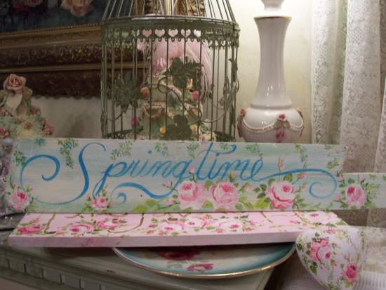 (Sky of Springtime)  Handpainted Sign