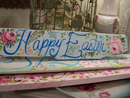 (Happy Easter)  Handpainted Sign