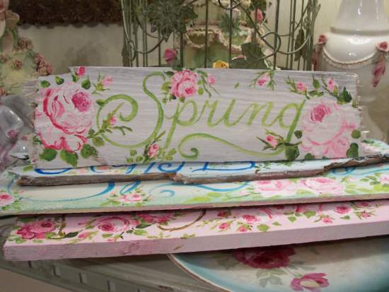 (Pink rose spring)  Handpainted Sign