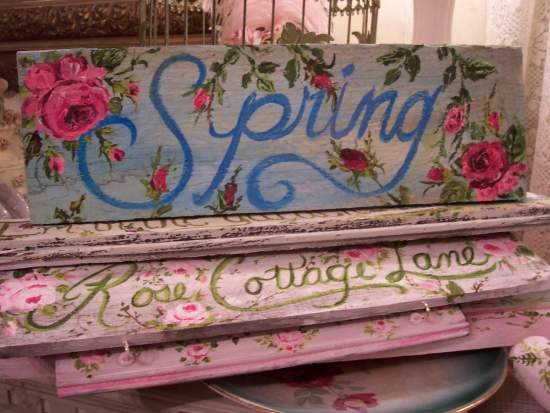 (Aqua Spring) Handpainted Sign