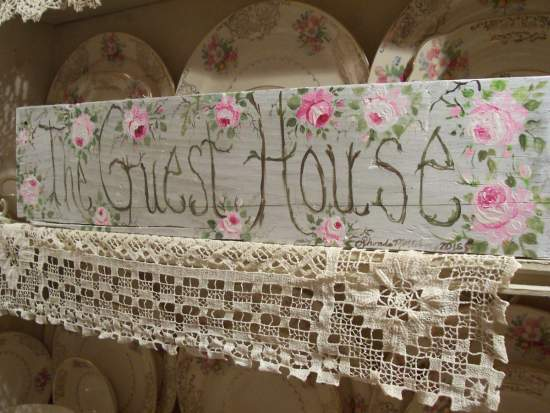 (The Guest House)  HANDPAINTED ROSES SIGN