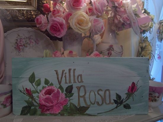 (VILLAROSA)  HANDPAINTED ROSE SIGN