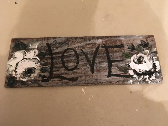 (Love In Black And White) Handpainted Sign