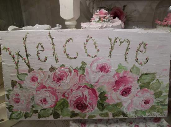 (Welcome In Pale Pink) Handpainted Sign