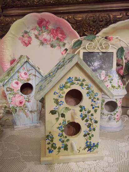 (Feather) Handpainted Small Bird House