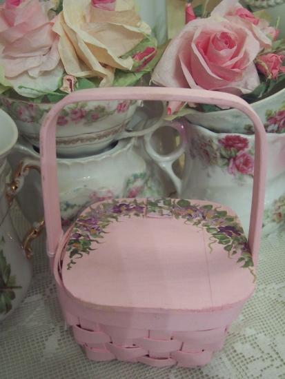 (pinkbasket) EASTER BASKET HANDPAINTED FLOWERS