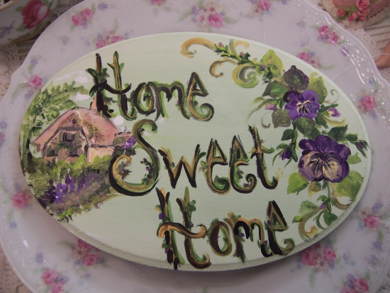 (hshpansypq) Shabby Pink Roses Home Sweet Home Handpainted Plaque