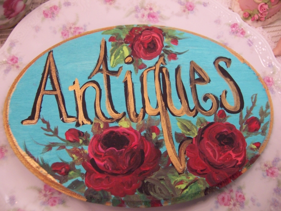 (antiquespq) Shabby Pink Roses Handpainted Plaque