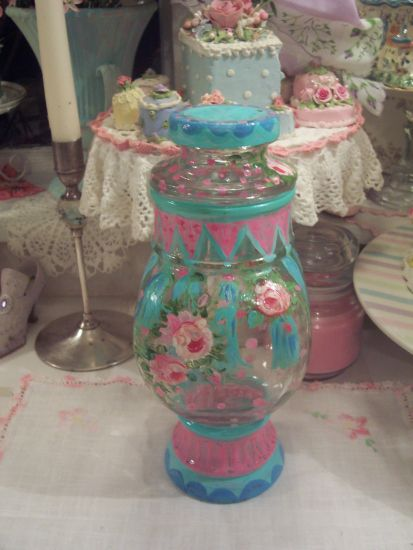 (RoseTassleJar) Covered Glass Painted Jar!!!