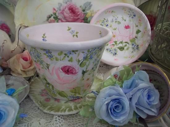 (Forget Me Not Springtime) Handpainted Flowerpot