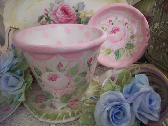 (SidneyRose) Handpainted Flowerpot